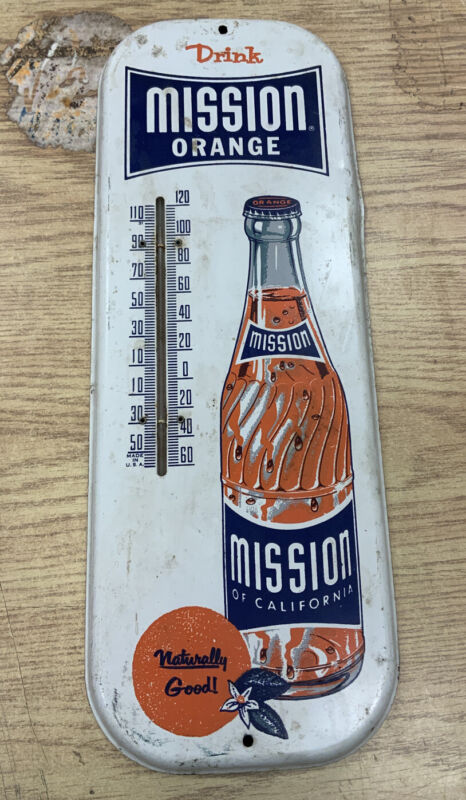 Antique Mission Orange Soda Advertising Thermometer Metal Sign Old Barn Find VTG
