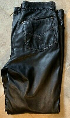 Mens Versace V2 Leather Pants Size 32 x 34