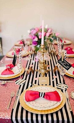 Table Striped (Black and white Table Runner 108