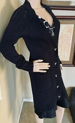 Laundry by Shelli Segal Black Knit Wool Blend Cardigan Button Sweater Coat sz S