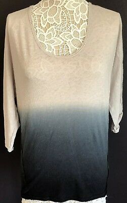 Free People Women's Top Strawberry Boho Ombre Sz:Small  in Gray & Black NEW  $68