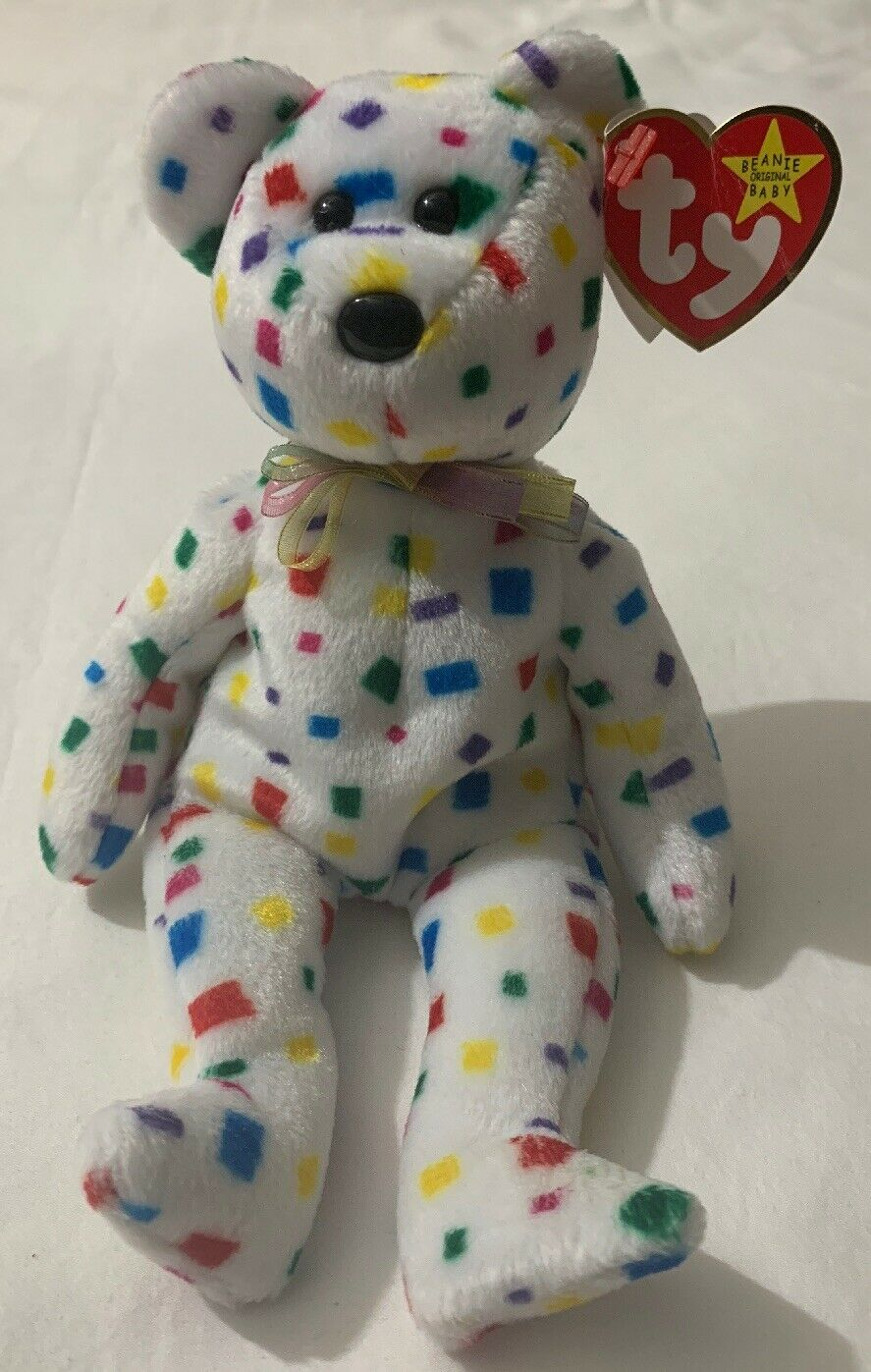 dc18916efc6 Details about Rare Errors Ty 2K Beanie Babies Bear White Confetti Red  Yellow Blue Green 50%OFF