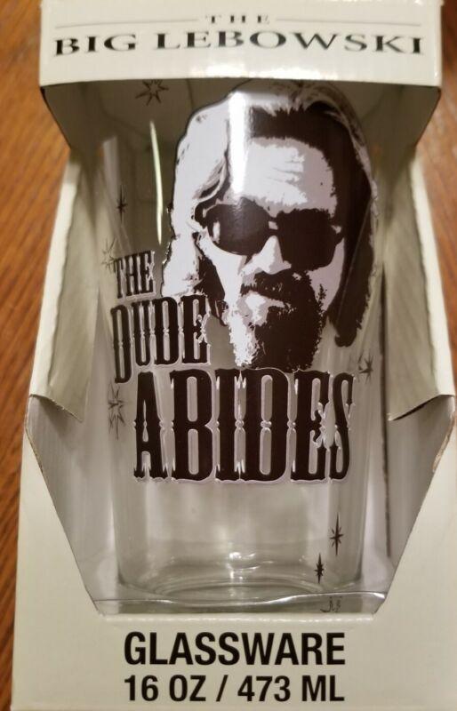 The Big Lebowski The Dude Abides 16 Oz Pint Glass Tumbler