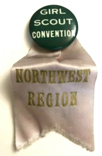Vtg Pinback Button Girl Scout Convention Northwest Region With Ribbon