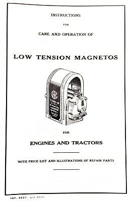 Ihc Low Tension Magnetos Manual Parts List Farmall Mccormick Hit N Miss Engine