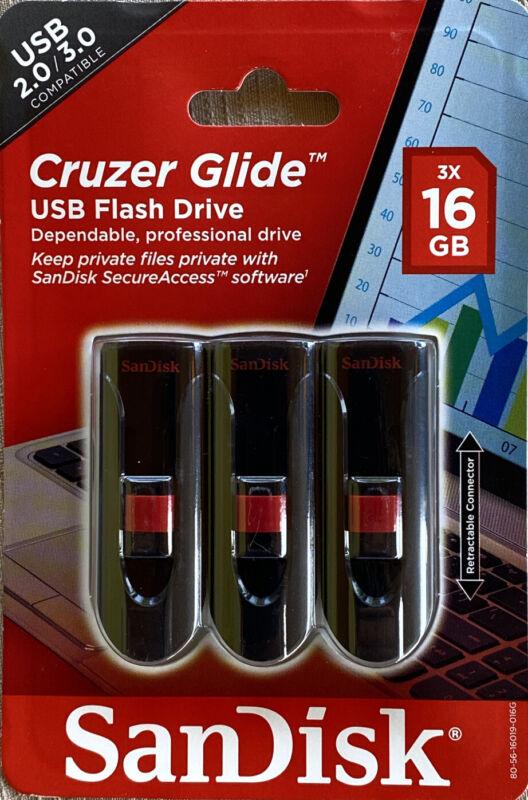 SanDisk Cruzer Glide 16GB USB 2.0/ 3.0 Flash Drive SDCZ60-016G-AW46T, 3 Pack 1-1
