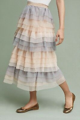 NWT Anthropologie blush nude gray Tulle Pleat Tier Midi Maxi Skirt 12 (Gray Tulle)