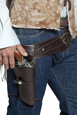 Smiffys Adult Unisex Western Belt and Holster Brown One size 33097 (Western Gun Holsters Halloween)