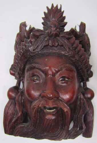 Old Carved Asian Dark Wood Man Exquisite Detailing Eyes Teeth Devil Dogs 8A