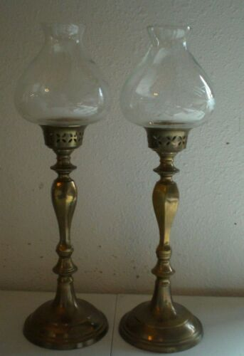 2 Vintage Solid Brass Candle Sticks with Clear Glass Globes