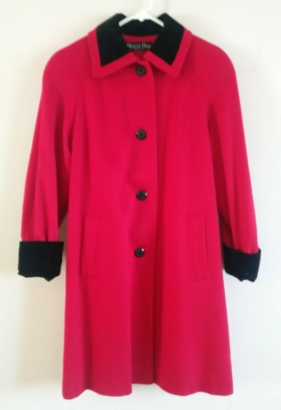 Holly Deb VINTAGE Red and Black 100% Wool Coat *RARE*