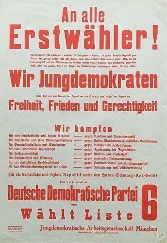 ORIGINAL - GERMAN 1928 FEDERAL ELECTION - GERMAN DEMOCRATIC PARTY BROADSIDE