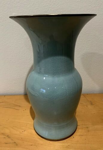 "Estate Found Vintage Hand Made Maitland -smith crackle Finish Vase 12""  Height"
