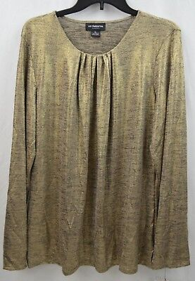 Liz Claiborne Career Women's Colonial Tan Blouse Long Sleeve Top Size XL - Colonial Clothing For Women
