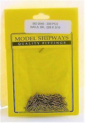 "Model Shipways Fittings MS 0940 Brass Nails .028 X 5/16"" (.7 X 8MM) 200 Per Pack"