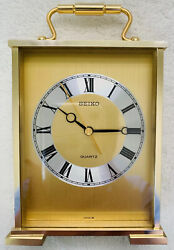 Seiko quartz desk clock  Gold Tone very Good to excellent Condition