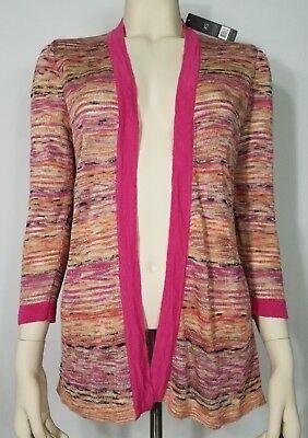 NWT Nic+Zoe pink purple Linen blend open front cardigan sweater ladies XS XSmall