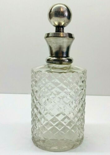 """Antique Diamond Pattern Glass With Sterling Silver Mounted Stopper Decanter 7"""""""