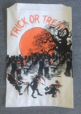 Vintage Graveyard Halloween Paper Treat Bag, Unused