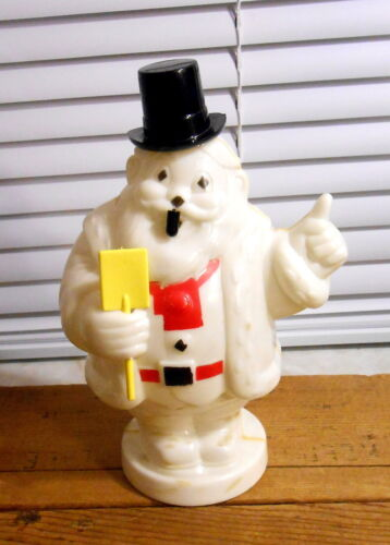 Vintage Hard Plastic Miller Santa Snowman with Pipe - Bank and a Light