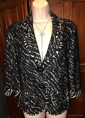 Joseph Ribkoff Black Lace Overlay Zebra Print Trim Veston Jacket Blazer 12 Lace Print Jacket