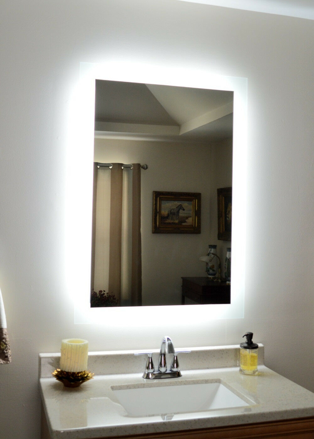 Lighted vanity mirror make up wall mounted led bath for Lighted mirror