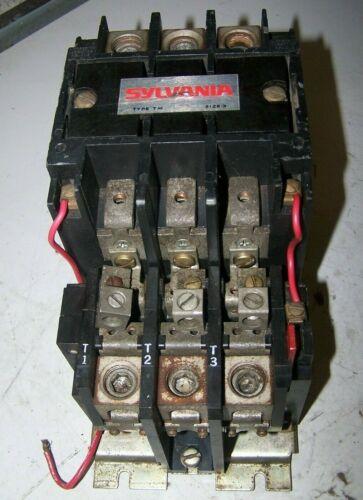 SYLVANIA TYPE TM SIZE 3 MOTOR STARTER 90 AMP 600 VAC 50 HP 480V COIL T13U033