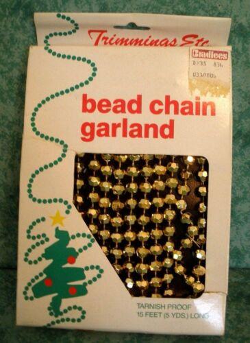 VINTAGE TRIMMINGS ETC.~BEAD CHAIN GARLAND~GOLD~15 FT~PLASTIC~TARNISH PROOF~NIB