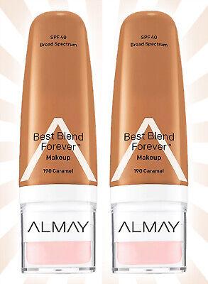 2 Almay Best Blend Forever Makeup Moisturizer Tan Shades 190 Caramel SPF (Best Face Tan Moisturiser)