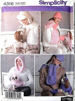 Simplicity 4316 Misses Accessories & Dog Pet Clothing Sewing Pattern Uncut FF