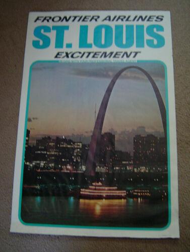 "Vintage Original Frontier Airlines St. Louis Excitement Poster 24""x 36"""