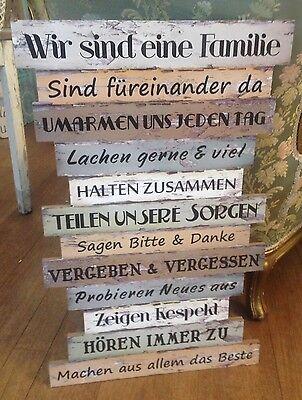 """Wanddeko Schild Textschild Deutsch """" Wir sind eine Familie"""" Shabby NEU"""