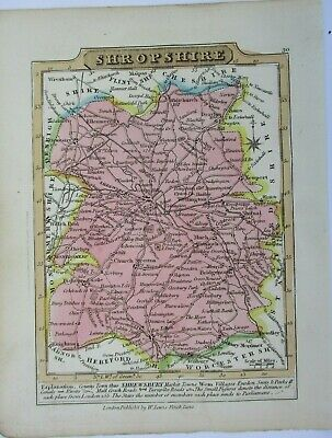 Antique map of Shropshire by William Lewis 1819
