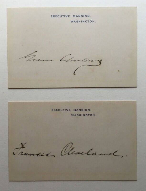 Pair Of Grover Cleveland and Frances Cleveland Signed Executive Mansion Cards