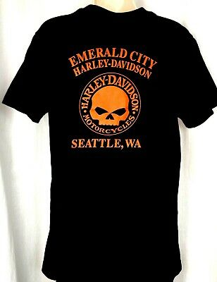 Harley Davidson womens graphic tee shirt size M black Seattle motorcycle biker