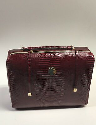 ESTEE LAUDER LARGE RED LEATHER COSMETIC MAKE UP BRIEF CASE/BAG