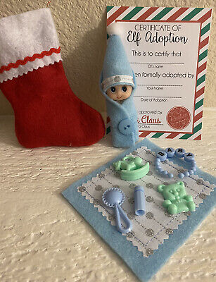CHRISTMAS BABY ELF doll blanket bottle accessories ON THE SHELF PROPS Blue