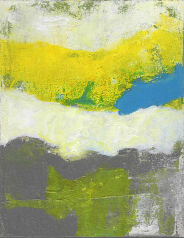 Just Outside Abstract Landscape Art Yellow Grey Blue Teal Decor