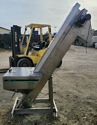 Hoppmann Stainless Steel Vep0406xdsa07 Incline Conveyor Hopper W6 Rubber Belt