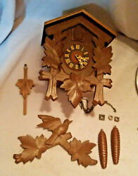Vintage Dark Brown Wooden Bird House Clock