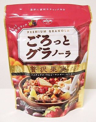 Nissin Premium Granola Japanese Cereals Rich Fruits 200g Grain Maple Syrup Japan