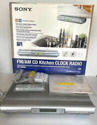 SONY FM/AM CD Player Slim Under Cabinet Kitchen Clock Radio ICF-CDK50