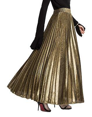 Gold Metalic Skirt (Women's Premium Metallic Shiny Shimmer Accordion Pleated Long Maxi Skirt Gold)