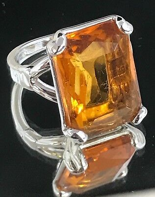 UNCAS Cocktail Ring Simulated Amber 18K Gold Plated Sz 6.75 Estate Jewelry 3f