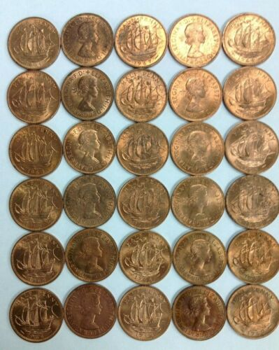 Vintage Great Britain Half Penny Lot 30 Pieces FREE SHIPPING