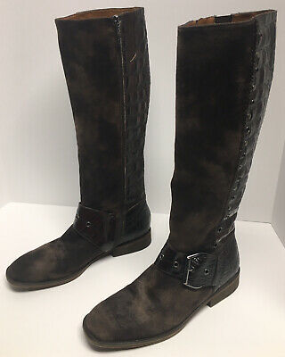 Donald Pliner Gale Riding Knee Boots Croc Embossed Leather Brown Suede Sz 8.5 M