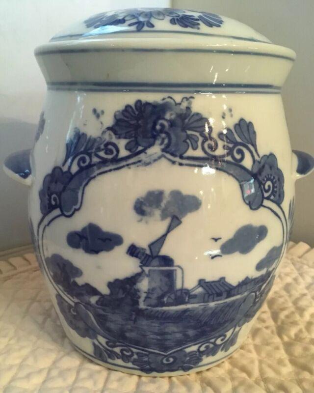 VTG IRONSTONE BLUE & WHITE WINDMILL DESIGN COVERED JAR,SIGNED