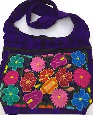 Guatemalan Multicolor Flowers Boho Hippie Shoulder Bag  Crossbody Purse - Hippie Flowers