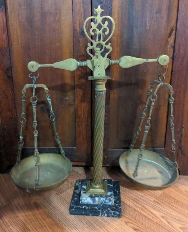 Antique Balance Scale Brass & Marble Base Apothecary Mercantile