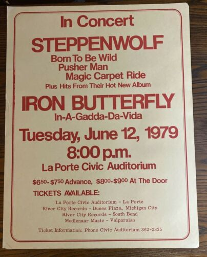 STEPPENWOLF Poster 1979 Concert w/ Iron Butterfly LaPorte Civic Aud IN Original
